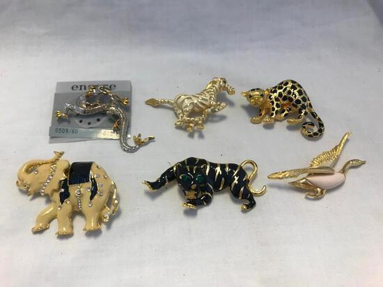 Lot of 6 Gold-Tone Animal Theme Brooches