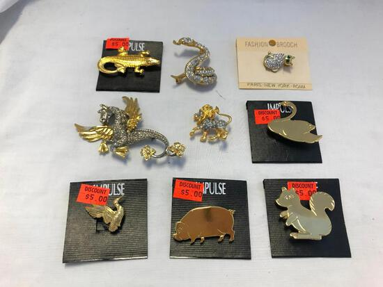 Lot of 9 Silver and Gold-Tone Animal Theme Brooches