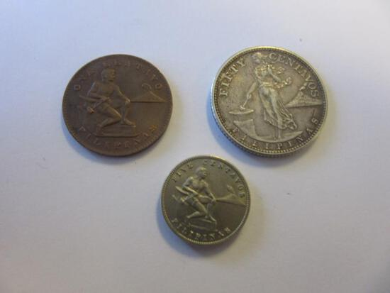 Lot of 3 1944/1945 Filipino Coins During American Occupation