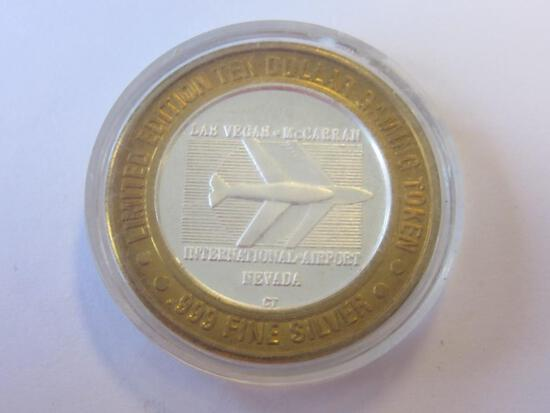 .999 Silver McCarran International Airport $10 Gaming Token