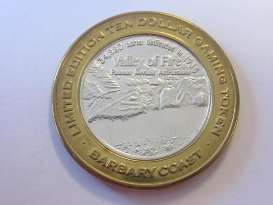 .999 Silver Barbary Coast Valley of Fire $10 Gaming Token