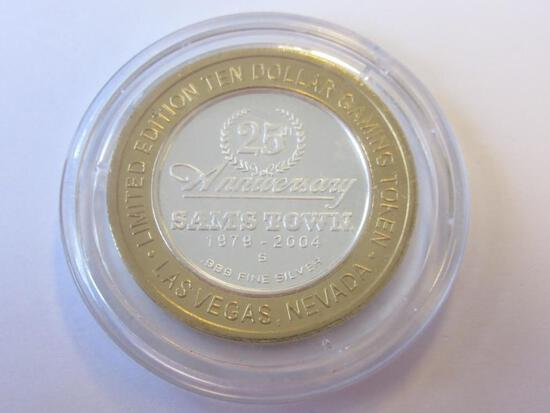 .999 Silver 25th Anniversary Sam's Town $10 Gaming Token
