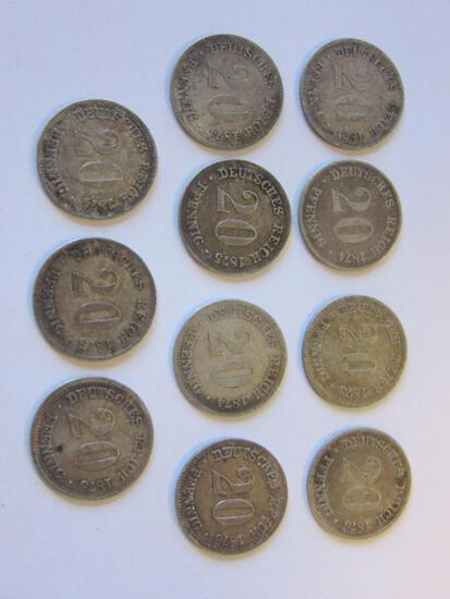 Lot of 11 .90 Silver 1873-1876 German Empire 20 Pfennig Coins