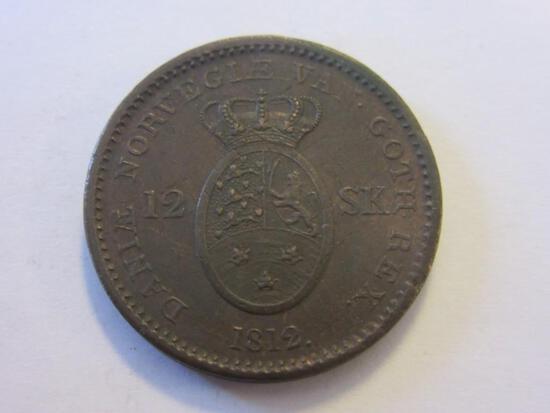 1812 Denmark 12 Skilling Coin