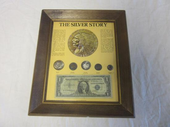 """""""The Silver Story"""" Framed Display Case Including Silver Coins, a Silver Certificate, and Silver"""