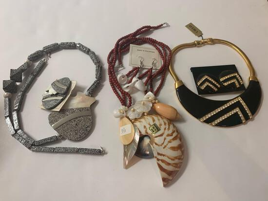 Lot of 3 costume matching necklace earring sets