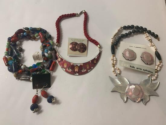 Lot of 3 costume matching necklace and earring sets