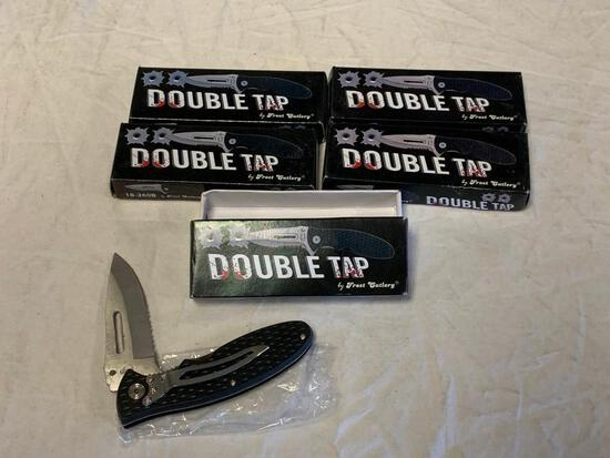 "Lot of 5 Double Tap Knife 18-260 B 4 1/2"" Long 1 Blade Folding Knife NEW IN BOXES"
