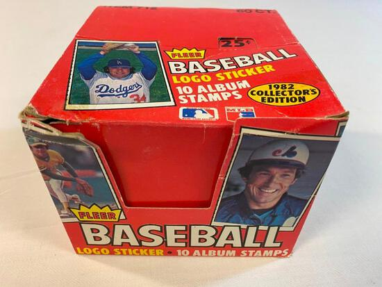Open box of 1982 Fleer Baseball Stamps Stickers
