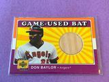 DON BAYLOR 2001 UD Baseball Game Used BAT Card
