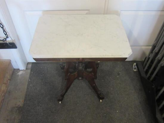 Antique Victorian Marble Top Walnut Parlor Table