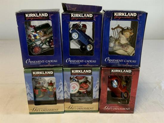 Lot of 6 Kirkland Signature Christmas Ornaments