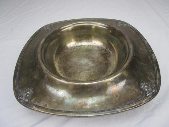 Vintage silver-plate dog water bowl