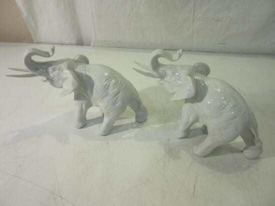 "Pair of Royal Dux 6""x 8"" White Elephants"