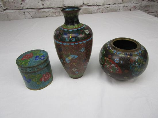 Lot of 3 cloisonne, enamel, and brass items