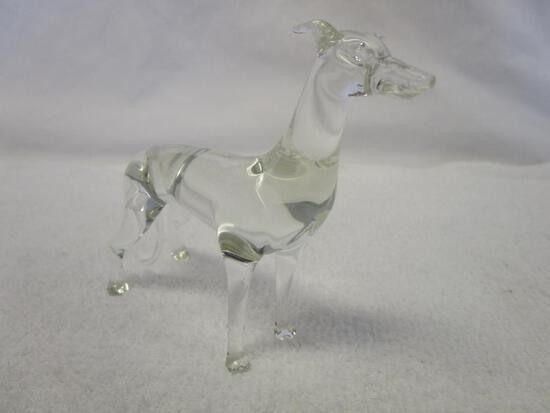 Hand blown clear glass greyhound dog figurine