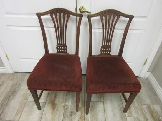 Pair of Vintage Red Cushion Wooden Chairs