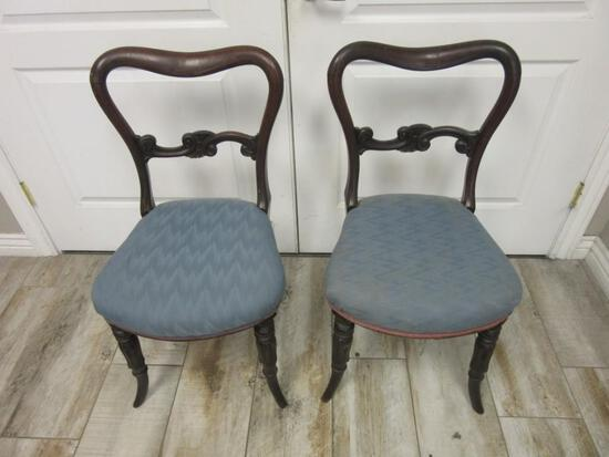 Pair of Vintage Blue Cushion Wooden Chairs