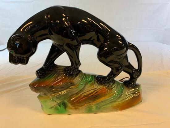 Vintage 1950s BLACK PANTHER JAGUAR TV LAMP