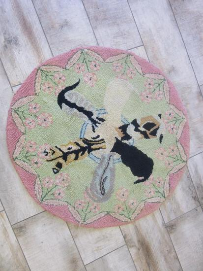 "Vintage Folk Art Hooked Rug ""Cats Drinking Milk"""