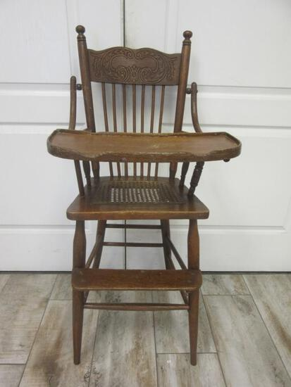 Vintage Wooden Child's High Chair w/ Wicker Seat