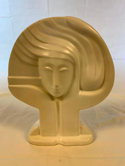 Art Deco Lady Head Face Large Statue Bust Haeger