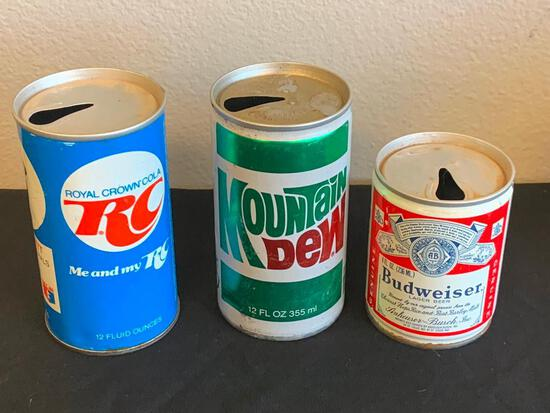 Vintage Bud, Mountain Dew and RC cola Cans