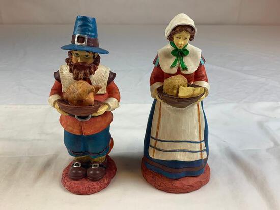 "Lot of 2 Thanksgiving Pilgrims 8"" Figures"