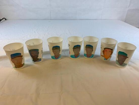 Lot of 7 Vintage 7-Eleven Baseball Cups STARS