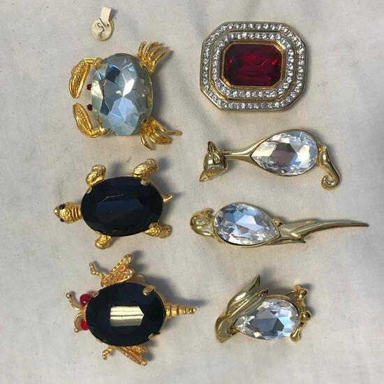 Lot of 4 Various Brooches with Large Center Stones