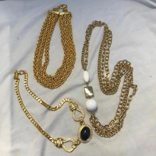 Lot of 3 Various Gold Necklaces