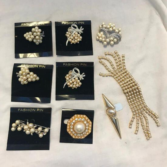 Lot of 9 Gold-Toned and Faux Pearl Brooches
