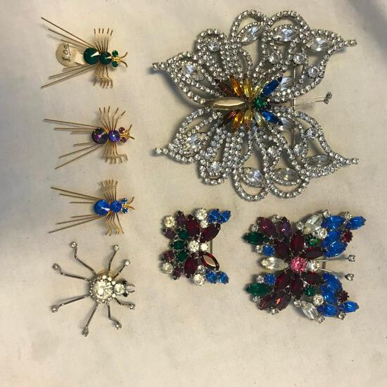 Lot of 7 Butterfly and Insect Brooches