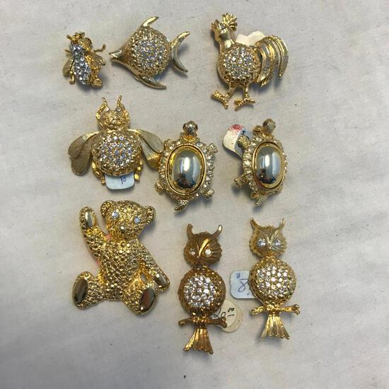 Lot of 9 Gold-Toned and Rhinestone Animal Brooches