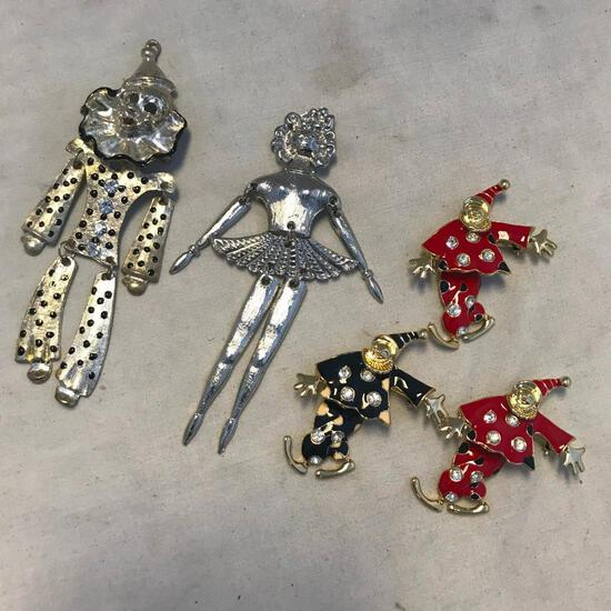 Lot of 5 Various multi-piece brooches (mostly clowns, with one ballerina)