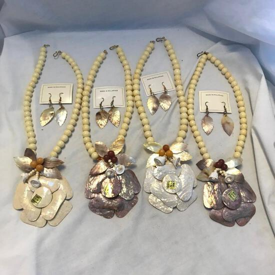 Lot of 4 Wooden Bead and Shell Necklace and Earring Sets