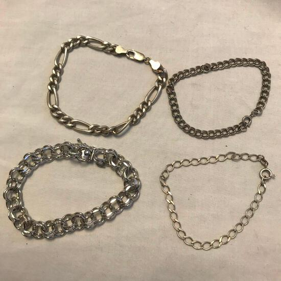 Lot of 4 Misc. Sterling Silver Chain Bracelets