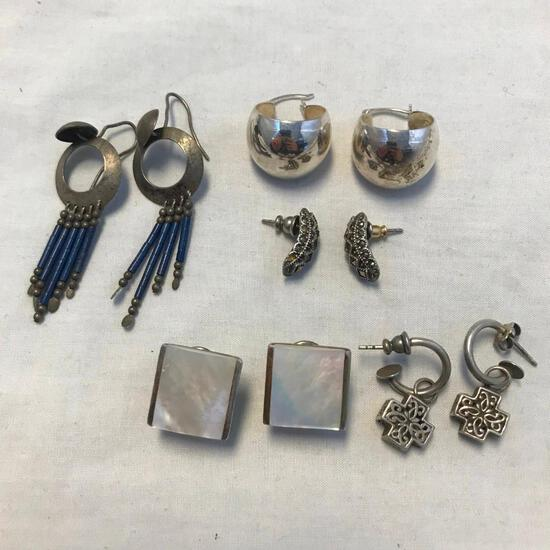 Lot of 5 Misc. Pairs of Sterling Silver Pierced Earrings