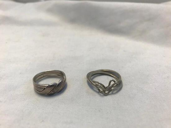 Lot of 2 Sterling Silver Multi-Piece layered Rings