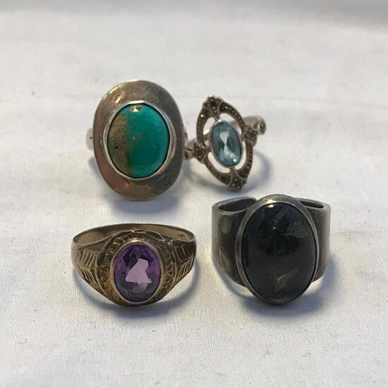 Lot of 4 Sterling Silver Misc. Rings with Various Center Stones