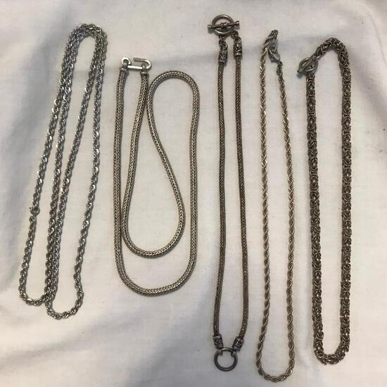 Lot of 5 Sterling Silver Misc. Chain Necklaces