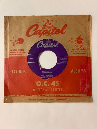 HANK THOMPSON Rub-A-Dub-Dub / I'll Sign My Heart Away 45 RPM 1953 Record