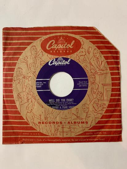 BING CROSBY AND FRANK SINATRA True Love / Well Did You Evah? 45 RPM 1956 Record