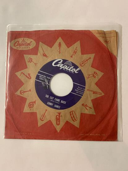SONNY JAMES The Cat Came Back 45 RPM 1950s Record
