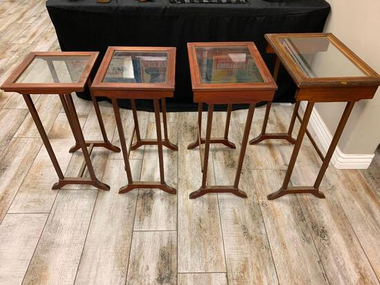 4 Vintage Nesting Tables Stackable Glass Top
