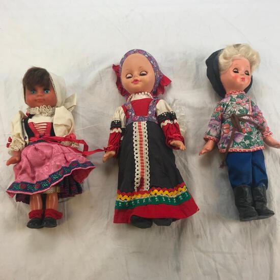 Lot of 3 Vintage Dutch Plastic Dolls