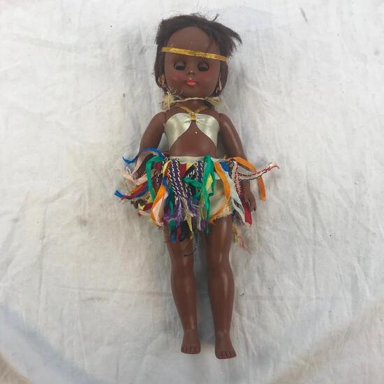 "13"" Vintage Plastic Native American Girl Doll"