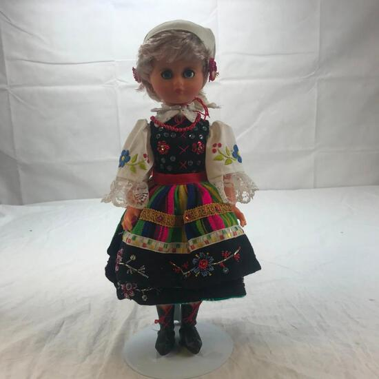 """16"""" Plastic Dutch Style Doll Embroidered Dress"""