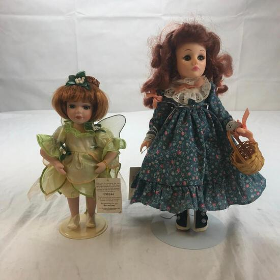 Lot of 2 Vintage Plastic Girl Dolls with Stands