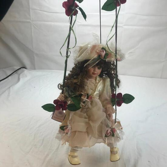 """25"""" Porcelain Girl Doll w/ Attached Hanging Bench"""